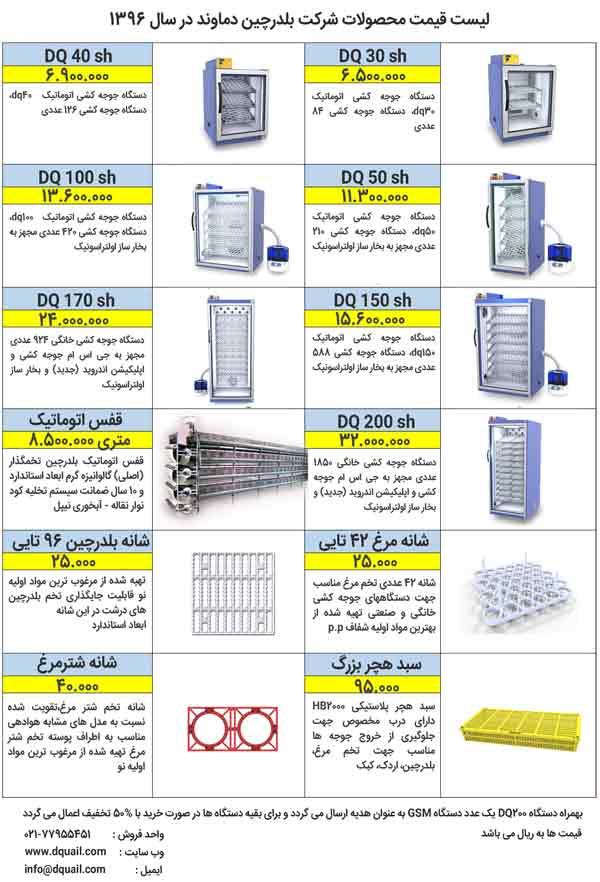 لیست قیمت دستگاه جوجه کشی